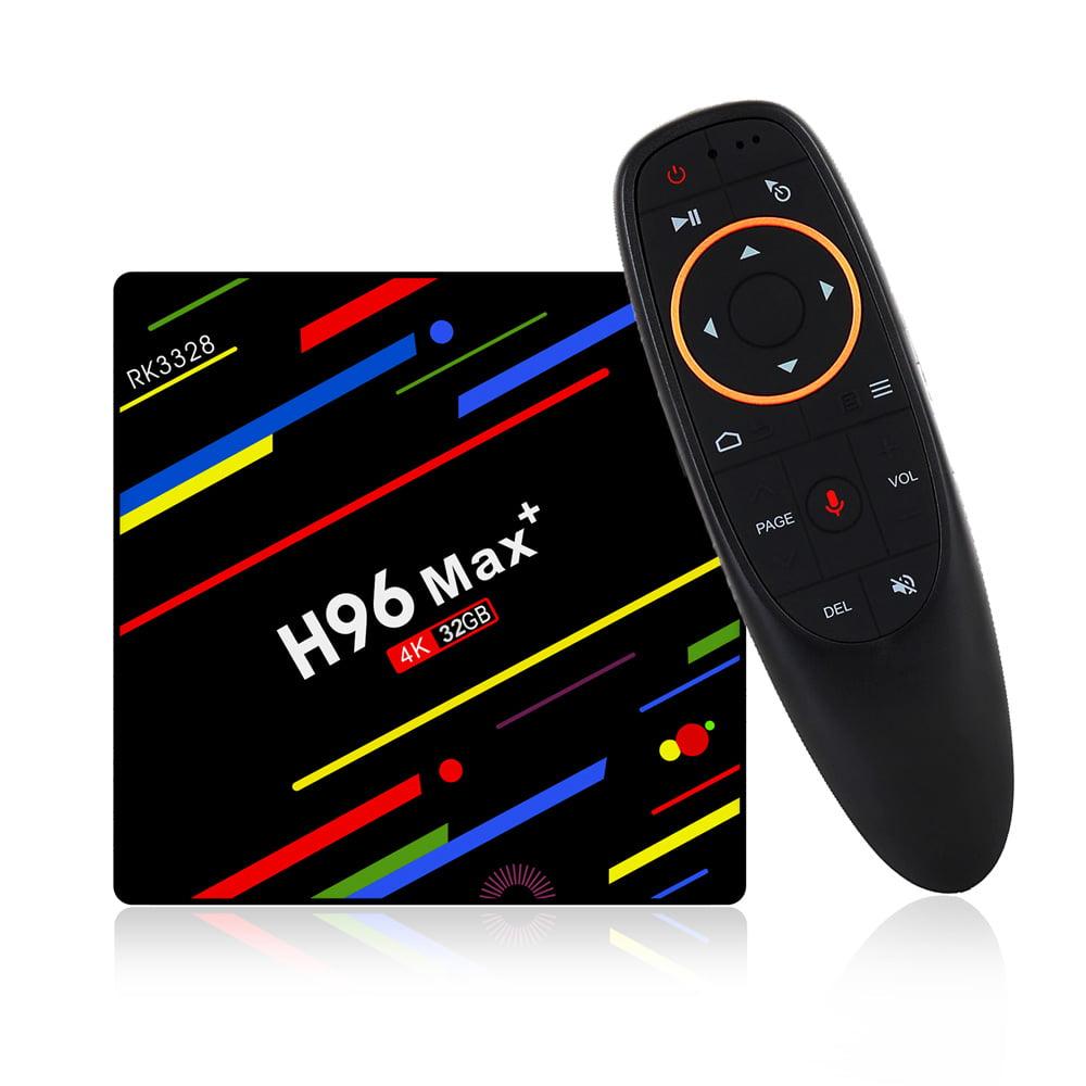 Mini TV Box - H96 Max Plus RK3328 4GB RAM 32GB ROM Android 8.1 4Kx2K 100M LAN 2.4G WIFI USB3.0 VP9 H.265 HDR10 TV Box Mini PC Support HD Netflix 4K with Voice Remote Control