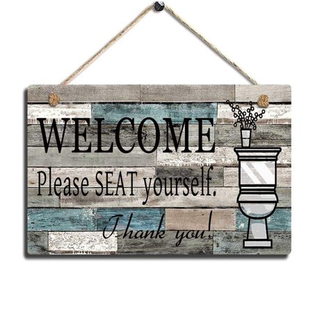Funny Bathroom Signs Please Seat Yourself Welcome Sign 13 5 X 7 5 Hanging Wall Art Sign Home Bathroom Decor For Bathroom Walmart Canada