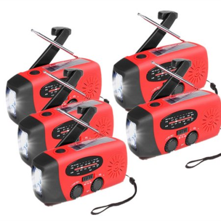Click here to buy 5Pcs Emergency Camping Hand Crank Radio Portable Waterproof 5000lux 3 LED Solar Flashlight... by LESHP.