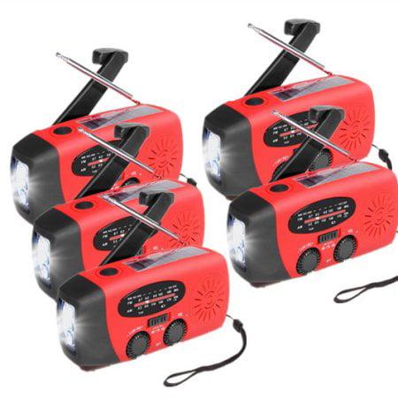 5Pcs Emergency Camping Hand Crank Radio Portable Waterproof 5000lux 3 LED Solar Flashlight... by LESHP