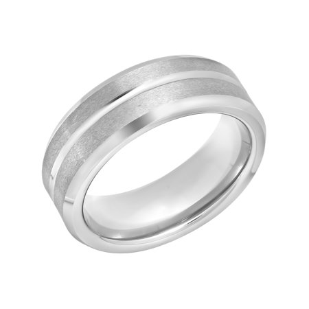Men's Grooved White Tungsten 8MM Wedding Band - Mens Ring Flat Grooved Wedding Ring
