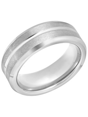Men's Grooved White Tungsten 8MM Wedding Band - Mens Ring