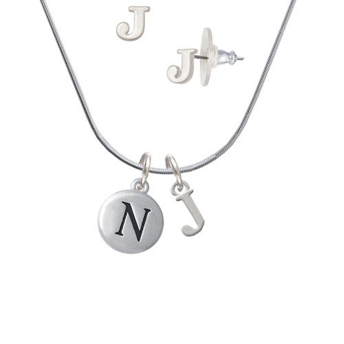 Capital Letter - N - Pebble Disc - - J Initial Charm Necklace and Stud Earrings Jewelry Set