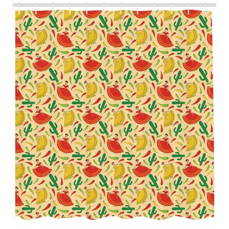 Spanish Shower Curtain Dancing Mexican Women Cactus And Chili Peppers Jalapeno Latin Motif Fabric