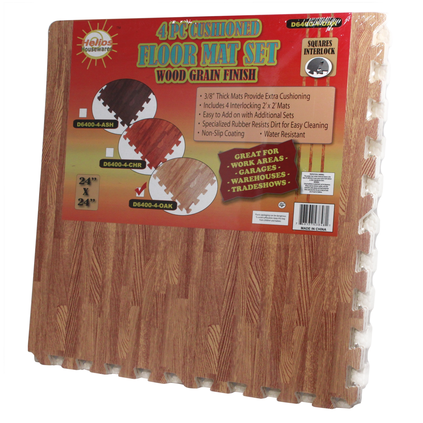 Interlocking Wood Grain Utility Foam Floor Mat Set Anti Fatigue Eva