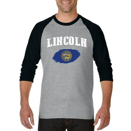 Lincoln Nebraska Raglan Sleeve Baseball T-Shirt - Party City Lincoln Nebraska