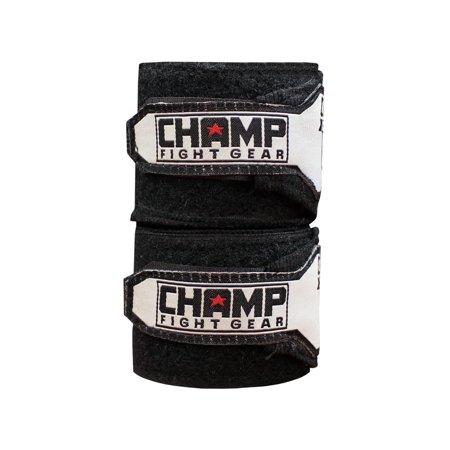 "The Champ Fight Gear Semi Elastic Professional 180"" Hand Wraps with Hook and Loop Closure for Boxing Kickboxing Muay Thai MMA for Men and Women – 1 Pair (Best Hand Wraps For Kickboxing)"