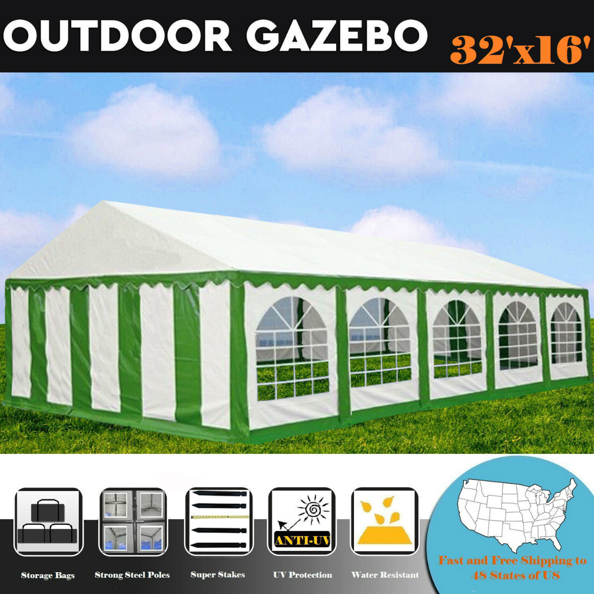 32'x16' PE Green/White Tent - Heavy Duty Wedding Party Canopy Carport - By DELTA Canopies