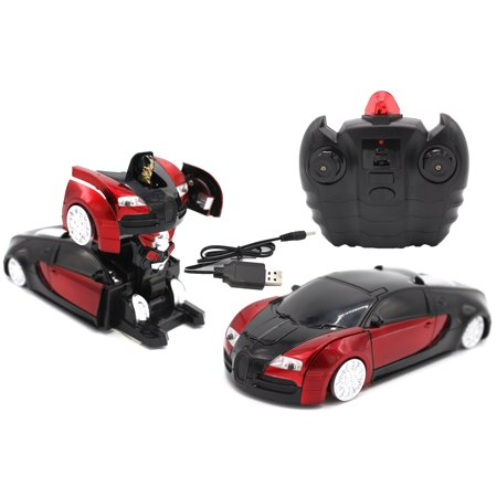 RC Toy Transforming Robot Remote Control Sports Car Wall Climber 1/24 Scale (red) ()