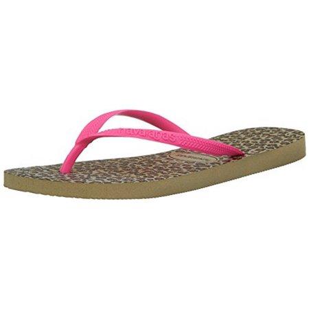 Havaianas Women's Slim Animals Sandal Flip Flop, Sand Grey/Pink, 39 BR/9/10 M US