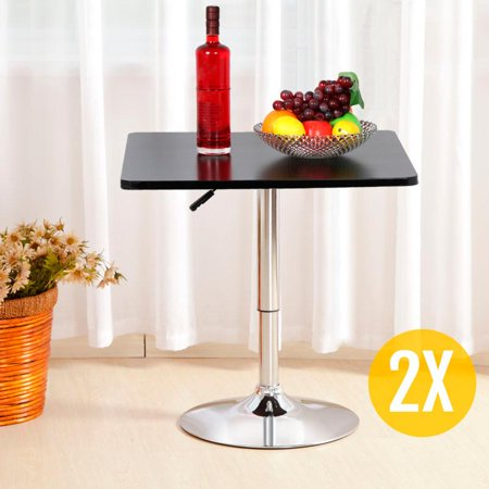 Yaheetech 2X Square Bar Table 360? Swivel Adjustable Gas Lift Coffee Dining