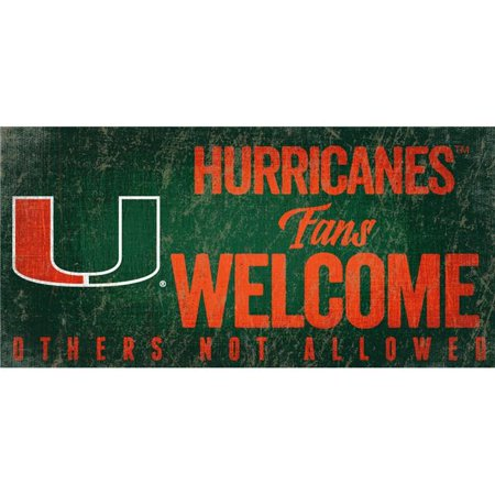 Miami Hurricanes Wood Sign Fans Welcome 12x6 - image 1 of 1
