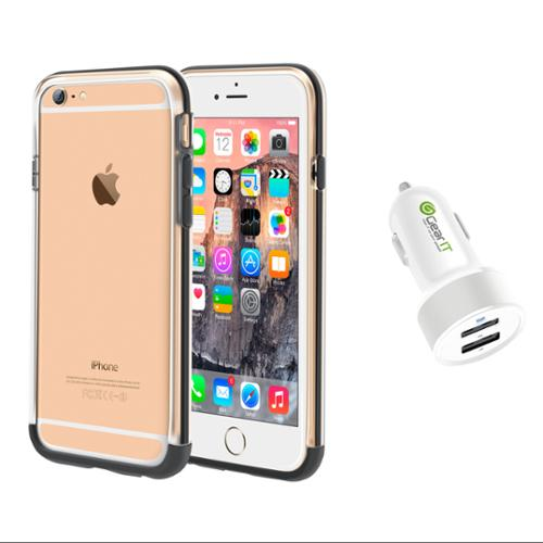 iPhone 6 Case Bundle (Case + Charger), roocase iPhone 6 4.7 Strio Bumper Open Back with Corner Edge Protection Case Cover with White 4.4A Car Charger for Apple iPhone 6 4.7-inch, Clear