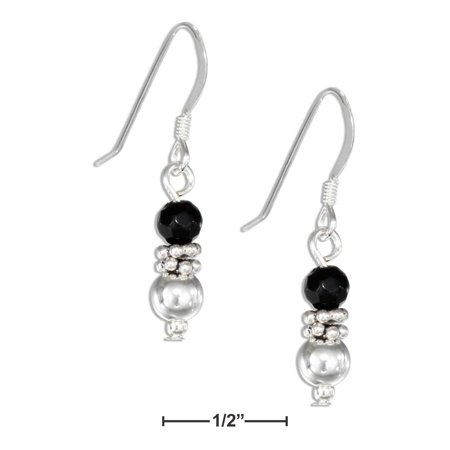 STERLING SILVER SILVER BALL AND FACETED SIMULATED ONYX BEAD EARRINGS