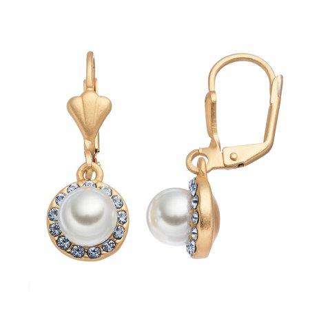 14K Gold Plated White Glass Pearl and Light Sapphire Dangle Earrings, Made With Swarovski Crystals Sapphire Swarovski Crystal Band