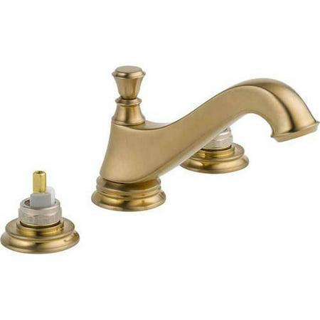Delta Cassidy Two Handle Widespread Bathroom Faucet - Low Arc Spout - Less Handles, Champagne Bronze