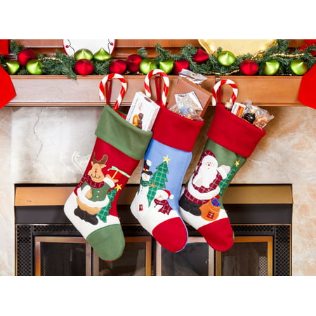 "Christmas Stocking Set - 18"" Santa and friend Stockings 3 pcs. Set"