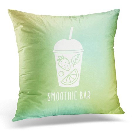 ARHOME Green Juice Smoothie Bar Cup to Go with Fruits Orange Drawn Pillow Case Pillow Cover 20x20