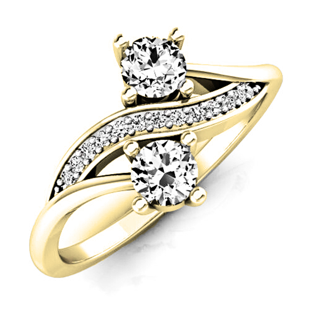 0.50 Carat (Ctw) 10K Yellow Gold Round White Diamond Ladies Forever Together Two Stone Bypass Style Bridal Engagement Ri