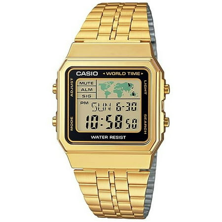 Gold- Tone Digital Retro Alarm Chronograph Men's Watch, A500WGA-1D