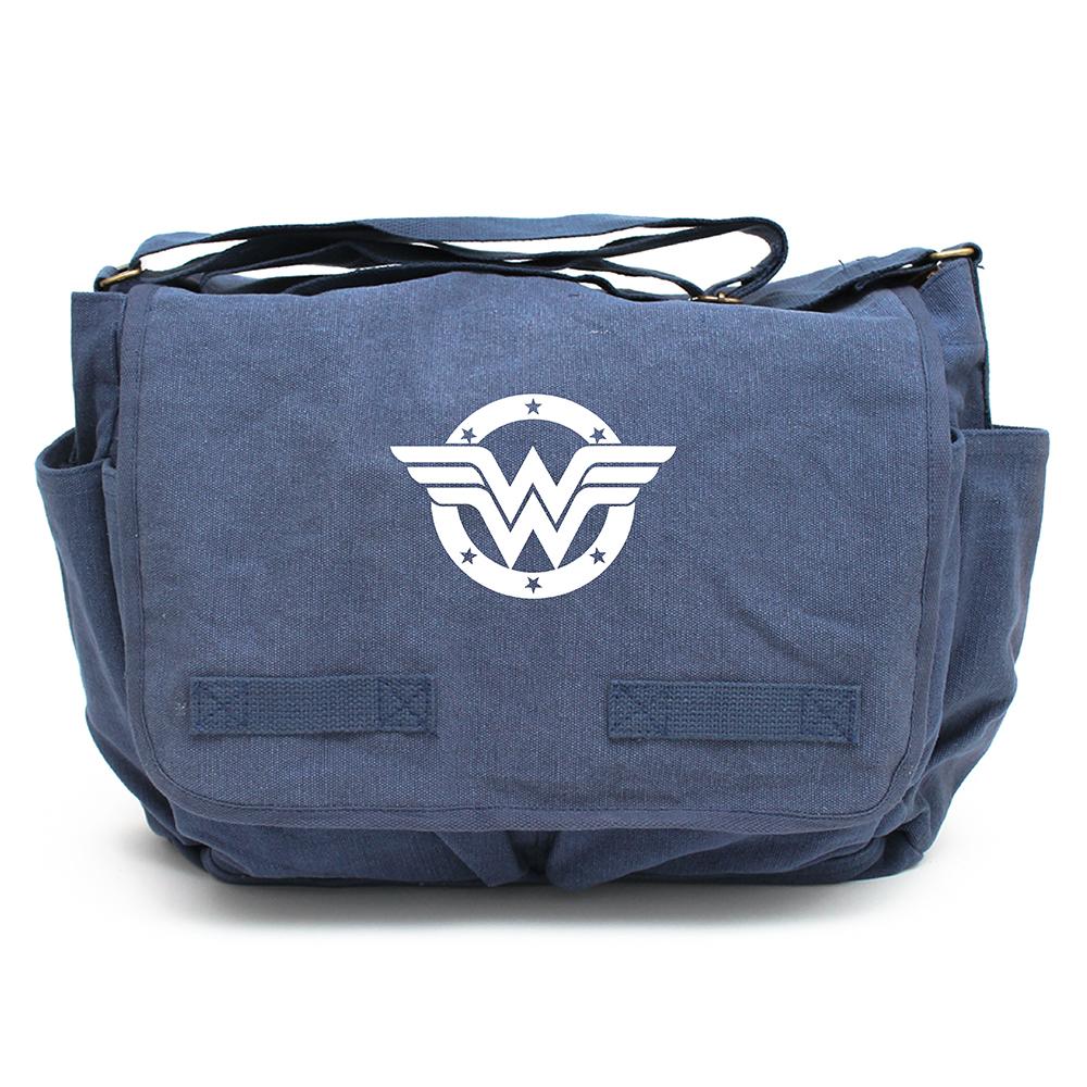 Wonder Woman logo Army Heavyweight Canvas Messenger Shoulder Bag