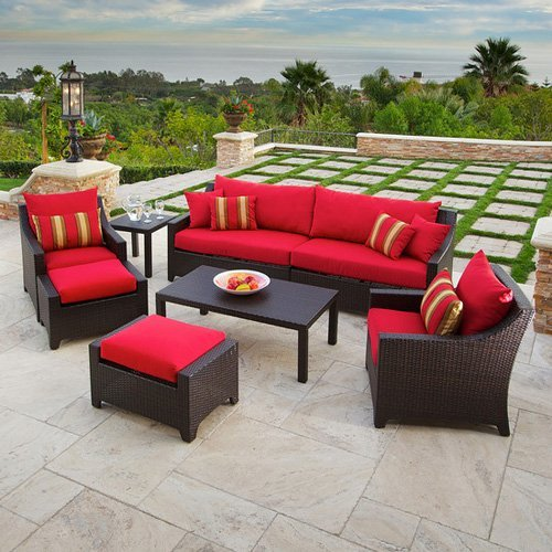 RST Outdoor Cantina Sofa, Club Chair, Ottoman Side and Coffee Table Seating Set