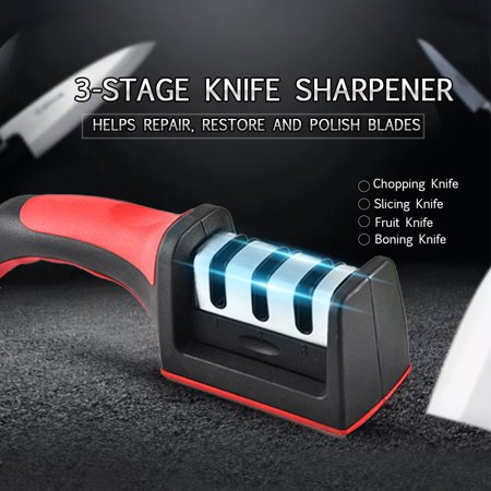 Kitchen Knife Sharpener 3 Stage Steel Ceramic Coated Kitchen Sharpening  Tool Helps Repair and Polish Blades