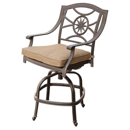 Darlee Ten Star Swivel Patio Bar Stool in Antique Bronze (Set of 2) ()