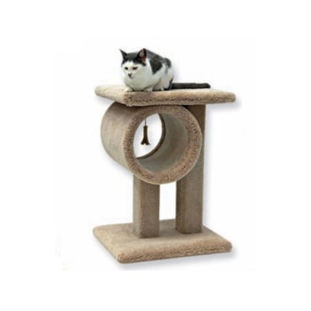 Beatrise 24 Inch Carpeted Kitty Cat Play Tunnel Toy & Perch Tree Furniture Post ()