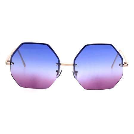 Rimless Hippie Octagonal Gradient Lens Fashion Sunglasses Blue (Pink Gradient)