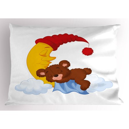 Bear Pillow Sham Adorable Cartoon for Kids Cute Baby Character Falls Asleep on Moon with Hat and Clouds, Decorative Standard Size Printed Pillowcase, 26 X 20 Inches, Multicolor, by Ambesonne (Baby On Cloud)