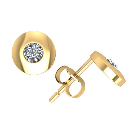 0.10Ct Round Cut Diamond Solitaire Stud Earrings 14k Yellow Gold Bezel Set K I2