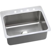 Elkay DPSSR2722101 Gourmet Stainless Steel Single Bowl Dual-Mount Sink with Single Faucet Hole