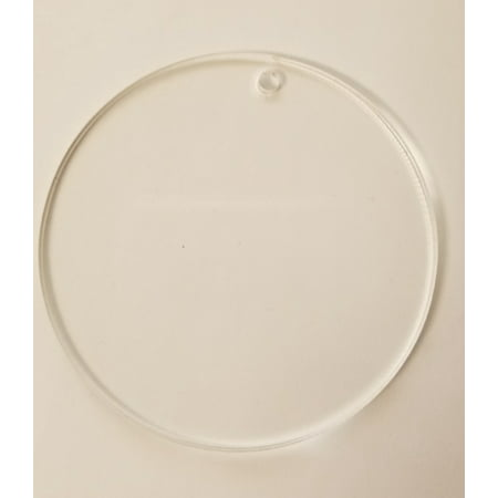 "(15 Pack) Clear 1/8"" Acrylic Discs with Hole - Circle, Round, Sheet, (4"")"