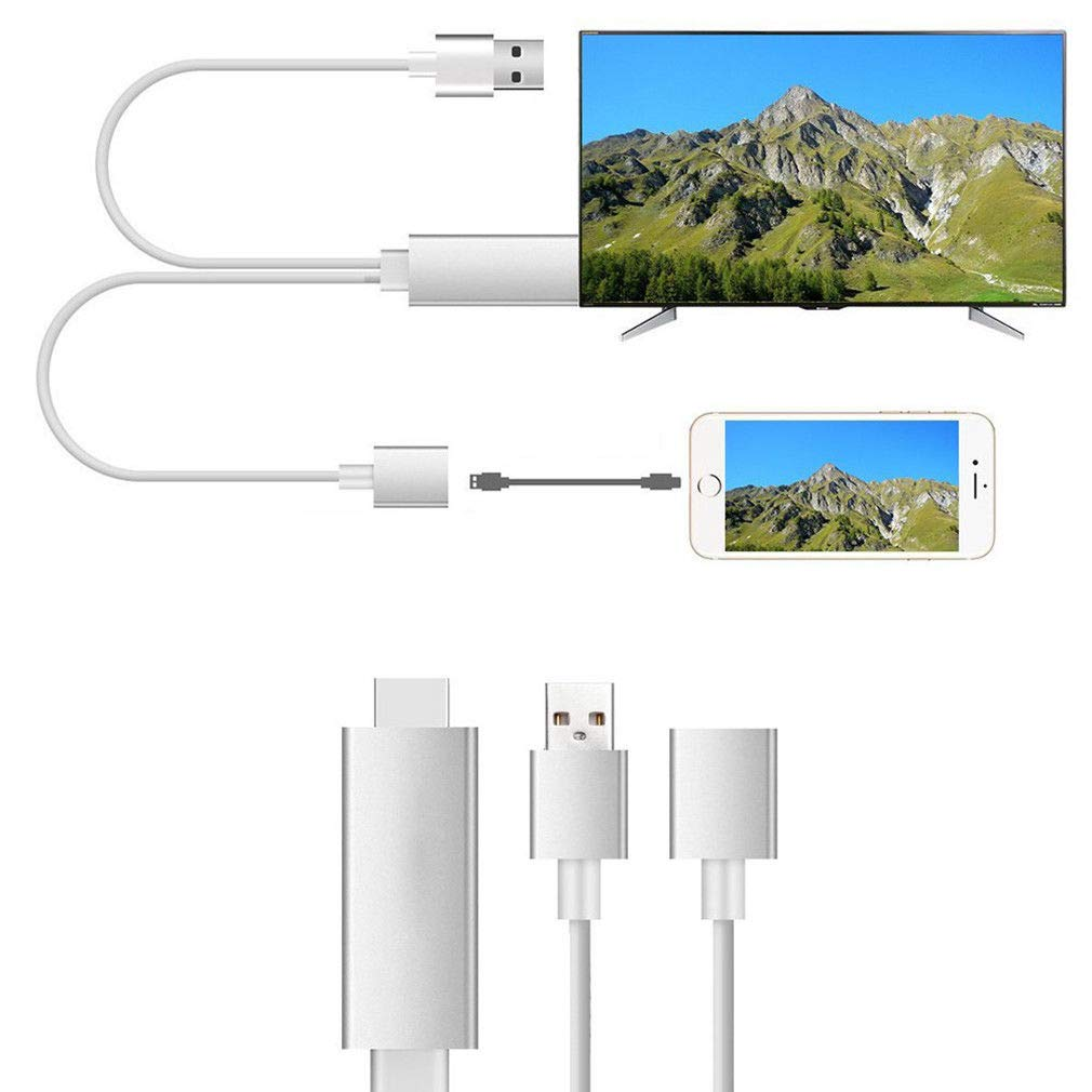 Lightning to HDMI Adapter 2 in 1 Plug and Play Digital AV Adapter 1080p HD TV Connector Cord Compatible with iPhone 11//11 Pro//XS//XR//X//8 on HDTV Monitor Projector Apple MFi Certified