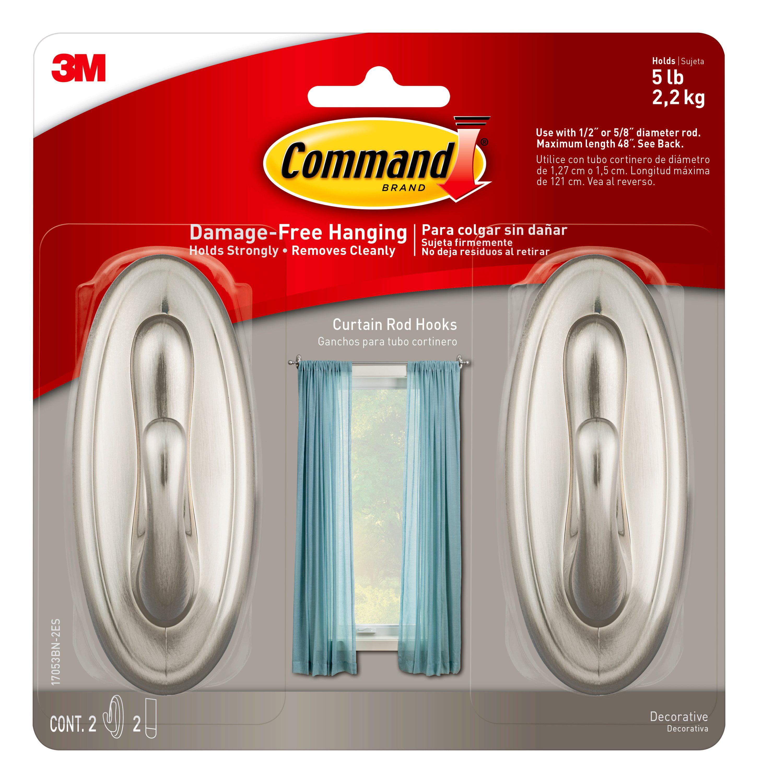 Command Curtain Rod Hooks 2 Hooks 2 Strips Per Pack Walmart Com Walmart Com