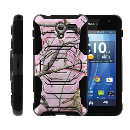 Case for Kyocera Hydro View | Case for Hydro Reach [ Armor Reloaded ] Heavy Duty Rugged Case with Built In Kicsktand + Belt Clip - Pink Hunters Camouflage