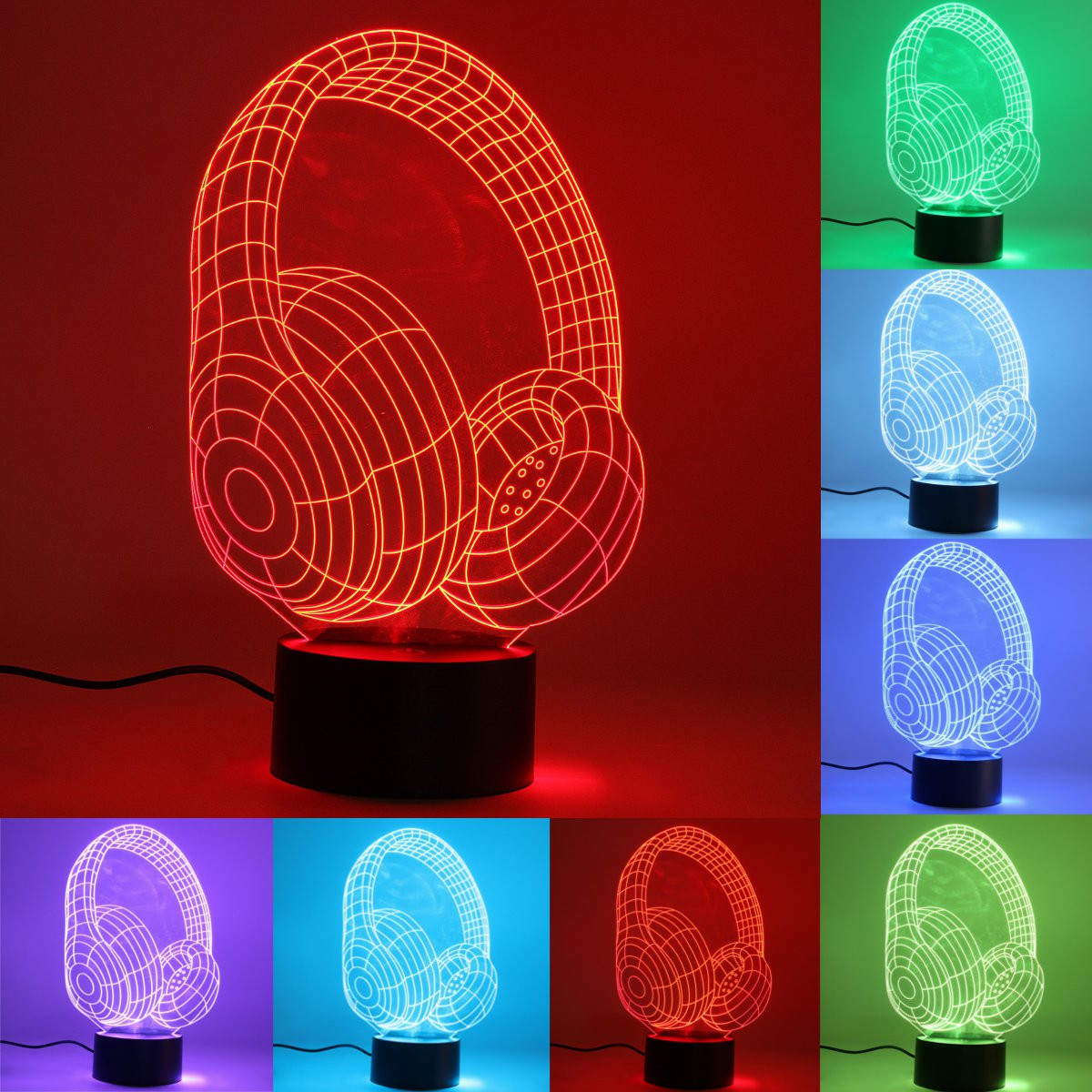 Moaere Headphone 3D Illusion LED Night Light Lamp 7 Colors Gradual Changing Touch Switch USB Table Lamp Valentine's Day gift for Lover or Kids