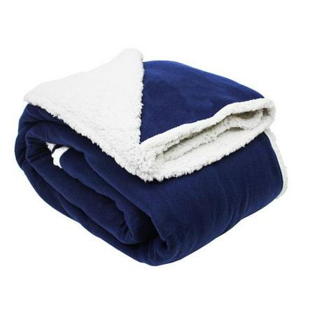 Solid Polar Fleece Sherpa Blanket Blue - Design Imports