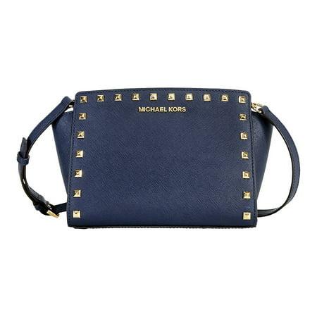 3298f737658a Michael Kors - Michael Kors Selma Studded Leather Medium Messenger Bag -  Navy - Walmart.com