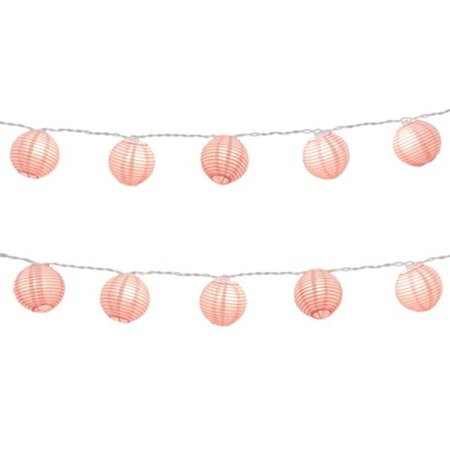 Set of 10 Baby Pink Paper Lantern Christmas Lights - White Wire