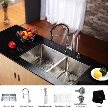 Kraus KHU103-33-KPF1612-KSD30CH 33 in. 16 Gauge Undermount Double Bowl Stainless Steel Kitchen Sink with Commercial Style Faucet & Soap Dispenser, Chrome - image 1 of 1