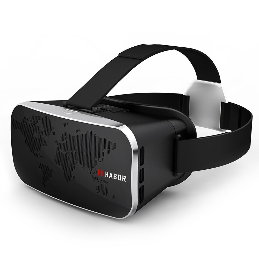 Habor 3D VR Virtual Reality Headset Virtual Video Glasses for 3D Movies/Games for 4.0 - 6.0 inches Smartphones iPhone 6s 6 Plus Samsung Galaxy series (Black)