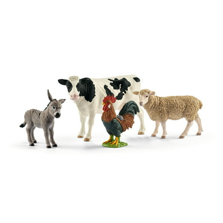 Schleich Farm World, Farm World Starter Set (Cow, Donkey, Rooster, Sheep) Toy Figures