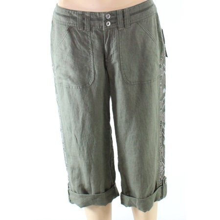 Embroidered Capris (INC NEW Green Olive Embroidered Womens 2 Capris Cropped Sequin Pants)