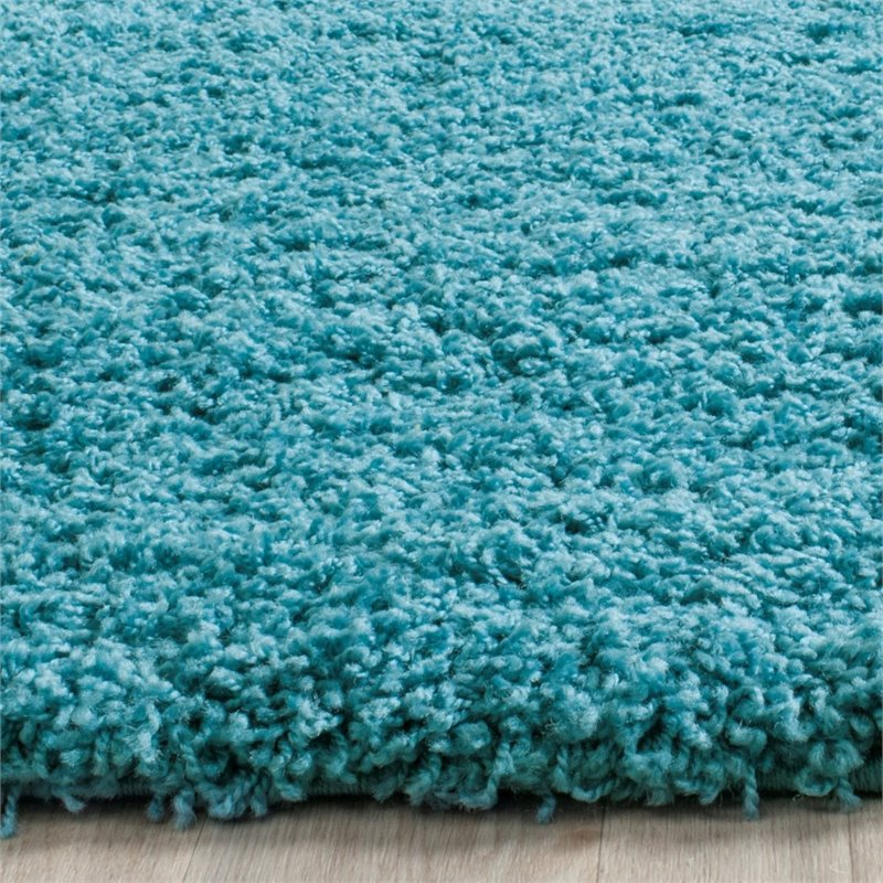 "Safavieh Laguna Shag 6'7"" Square Power Loomed Rug in Turquoise - image 4 of 10"