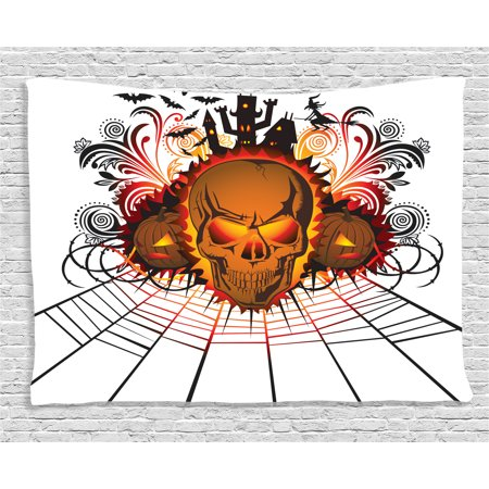 Halloween Decorations Tapestry, Angry Skull Face on Bonfire Spirits of Other World Concept Bats Spider Web, Wall Hanging for Bedroom Living Room Dorm Decor, 60W X 40L Inches, Multi, by Ambesonne (Spirit Of Hallowen)