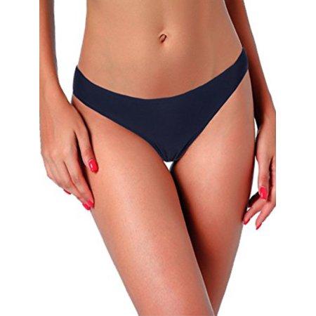 - Women's Bikini Bottom Mid Waist Swim Shorts Bikini Briefs Blue Swimsuit Bottom