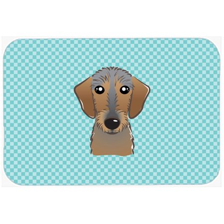 Checkerboard Blue Wirehaired Dachshund Mouse Pad  Hot Pad Or Trivet Bb1171mp
