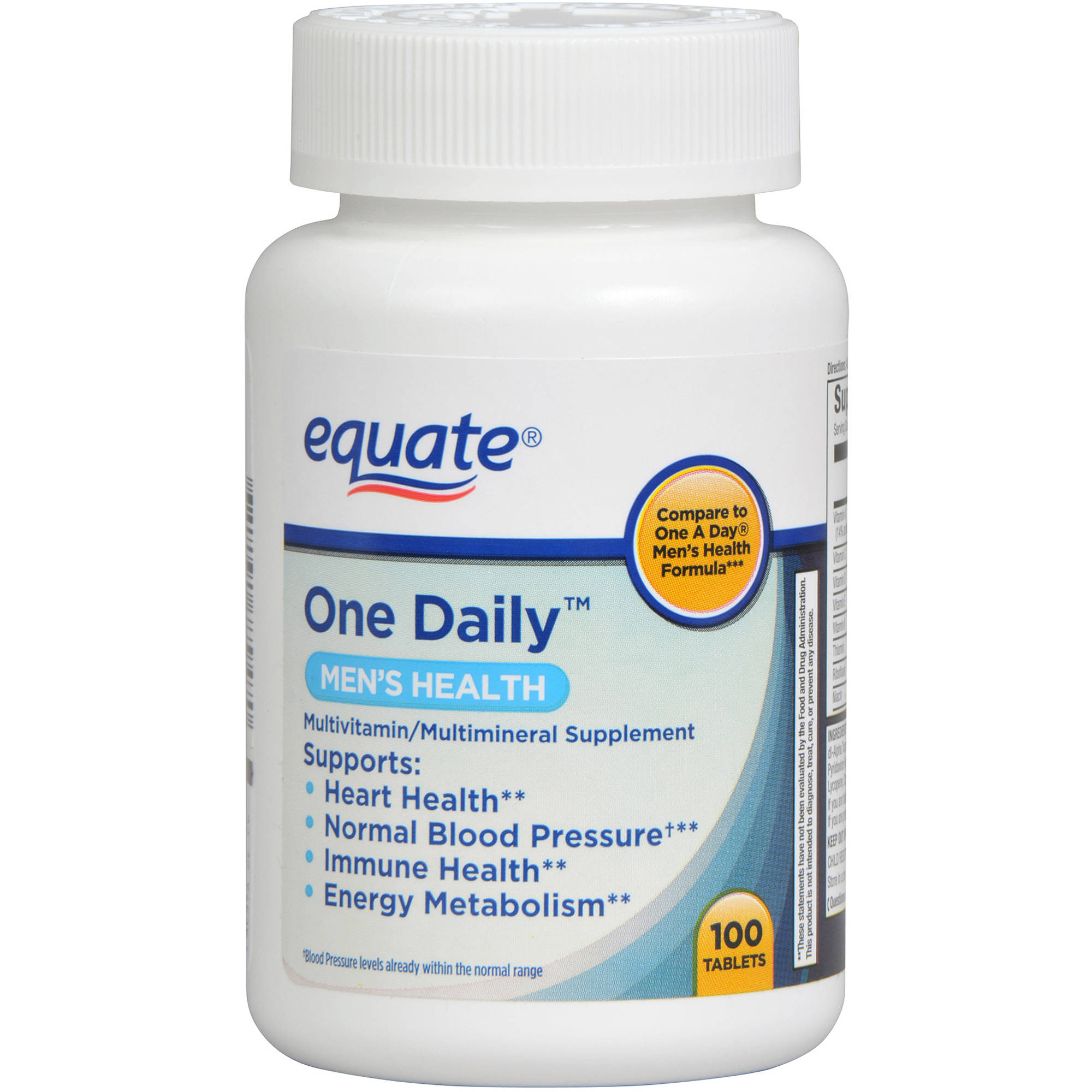 Equate One Daily Men's Multivitamin Multimineral Supplement 100ct